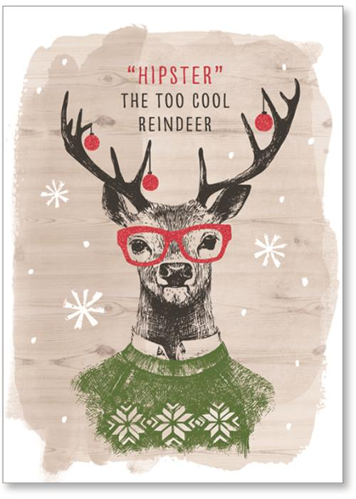 Reindeer in a sweater and ornaments in antlers