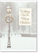 Lit Lamppost With Wreath