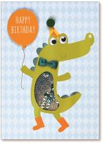 crocodile holding balloon