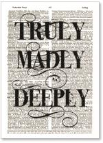 Truly Madly Deeply newsprint background