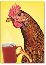 Rooster with coffee