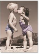 Kids At Beach Kissing