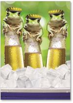Three frogs on beer bottles with caps on heads.