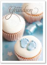 Cupcake With Blue Baby Footprints