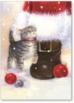 Kitten Rubbing Santa Boot