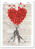balloon heart/giraffe with newsprint background