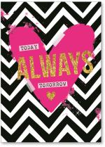 Pink heart with chevron pattern
