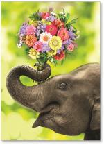 Elephant with bunch of flowers