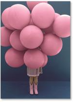 Girl with a bunch of balloons.
