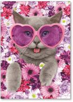 Cat with glasses on a bed of flowers.
