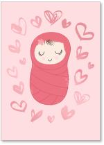 Swaddled Baby with Hearts