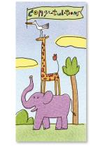 giraffe standing on elephant