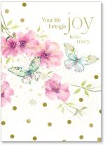 Flowers and butterflies with gold foil polka dots