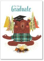 Bear at campfire with graduation cap