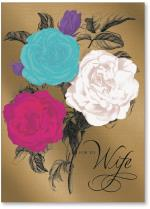 Bright colored roses on gold texture foil