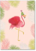Flamingo in party hat