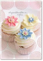Cupcakes with flowers foil circle design pattern