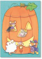 Dressed up mice in pumpkin