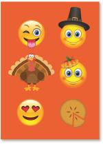 Emoji's on an orange background.