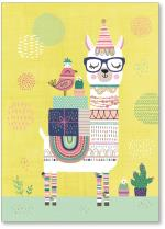 Llama with gifts, a bird and cacti.