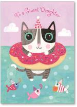 Cat swimming in a donut floaty with fish.